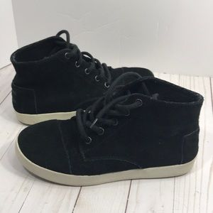 Toms high top black suede lace up sneakers